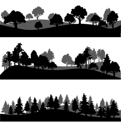 set of different landscape with trees vector image