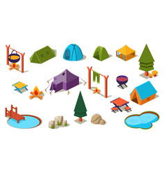 Set of isometric icons for camping active vector