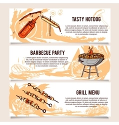 Set of vintage barbecue horizontal banners vector