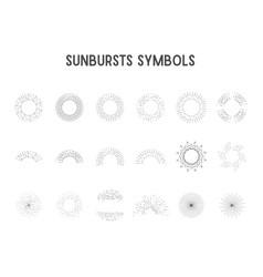 set vintage sunbursts star lights silhouette vector image