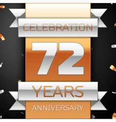Seventy two years anniversary celebration golden vector