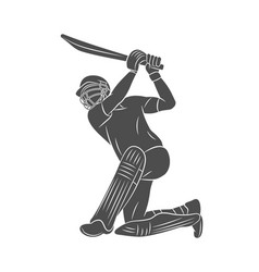 silhouette batsman playing cricket on a white vector image
