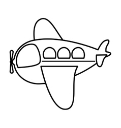 Silhouette side airplane toy flat icon vector