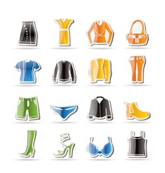 simple clothing and dress icons vector image vector image