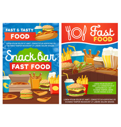 Snack bar or fastfood street meals vector