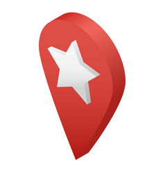 Star map pin icon isometric style vector