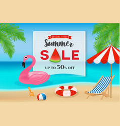 Summer sale promotion banner background vector
