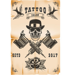 Tattoo studio poster template skull with crossed vector