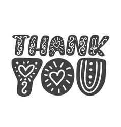 thank you handwritten scandinavian inscription vector image