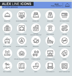 thin line hotel services and facilities online vector image