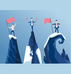 three businessman first reached summit the vector image