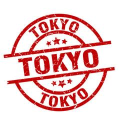 Tokyo red round grunge stamp vector