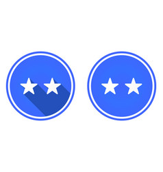 two stars round flat icon rating icon isolated on vector image