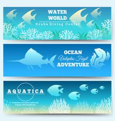 Underwater scene banners vector