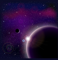Universe with stars nebula planet and galaxy vector