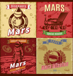 Vintage colored space research cards set vector