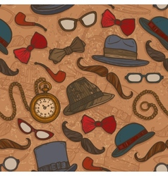 Vintage hats and glasses color seamless pattern vector image