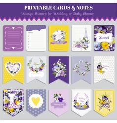 Vintage Pansy Flowers Card Set vector