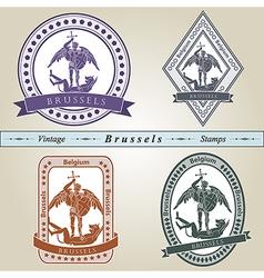 Vintage stamp Brussels vector