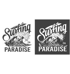 vintage surfing paradise label vector image
