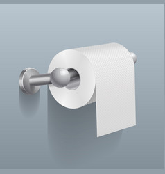 White toilet paper roll serviette on wall vector