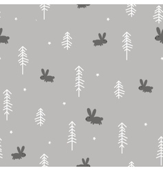 Winter Forest with a Rabbit vector