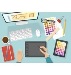 Women Workspace Composition vector image vector image