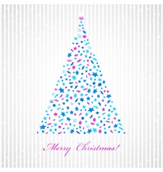 Christmas background with star fir-tree vector image vector image