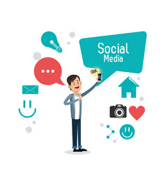 Man bubble speech smartphone social media vector