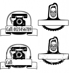 rubber stamp with phone vector image vector image