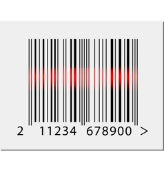 Barcode icon with red laser beam vector image vector image
