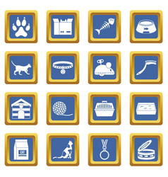 Cat care tools icons set blue vector