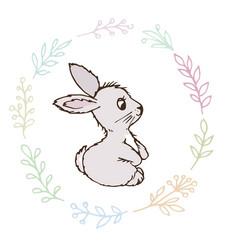 doodle rabbit small postcard vector image vector image