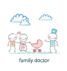 family doctor treats the father mother and baby vector image