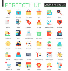 set of flat shopping and retail icons vector image vector image