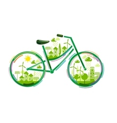 Bicycle with green city vector image vector image