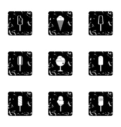 Cool treat icons set grunge style vector