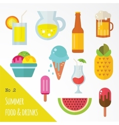icon set of summer food and drinks vector image