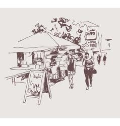original digital sepia sketch of street cafe in vector image vector image