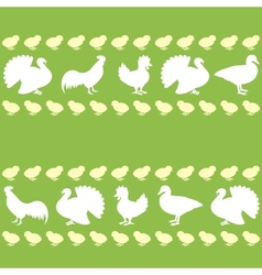 Seamless pattern with farm birds silhouettes vector image