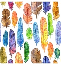 seamless pattern with watercolor feathers vector image