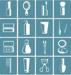 Set of colored cosmetics icons in flat style vector image