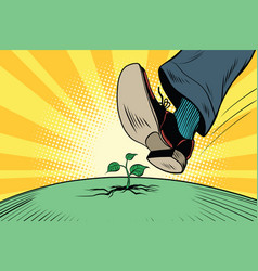 the human foot comes to green sprout ecology and vector image vector image