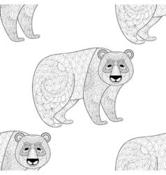 Big Panda seamless pattern Freehand ethnic sketch vector image vector image