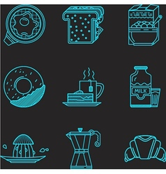 Breakfast blue line icons vector image vector image