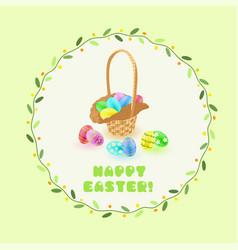 easter eggs in the basket in green leaves frame vector image