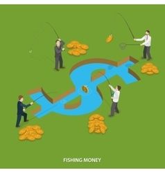 Fishing money flat isometric concept vector image vector image