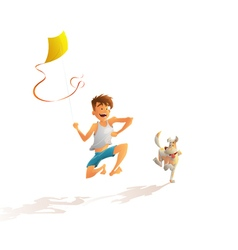 guy with the dog running along the beach vector image vector image