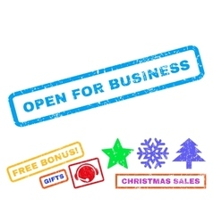 Open For Business Rubber Stamp vector image