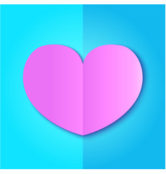pink paper heart on blue background vector image